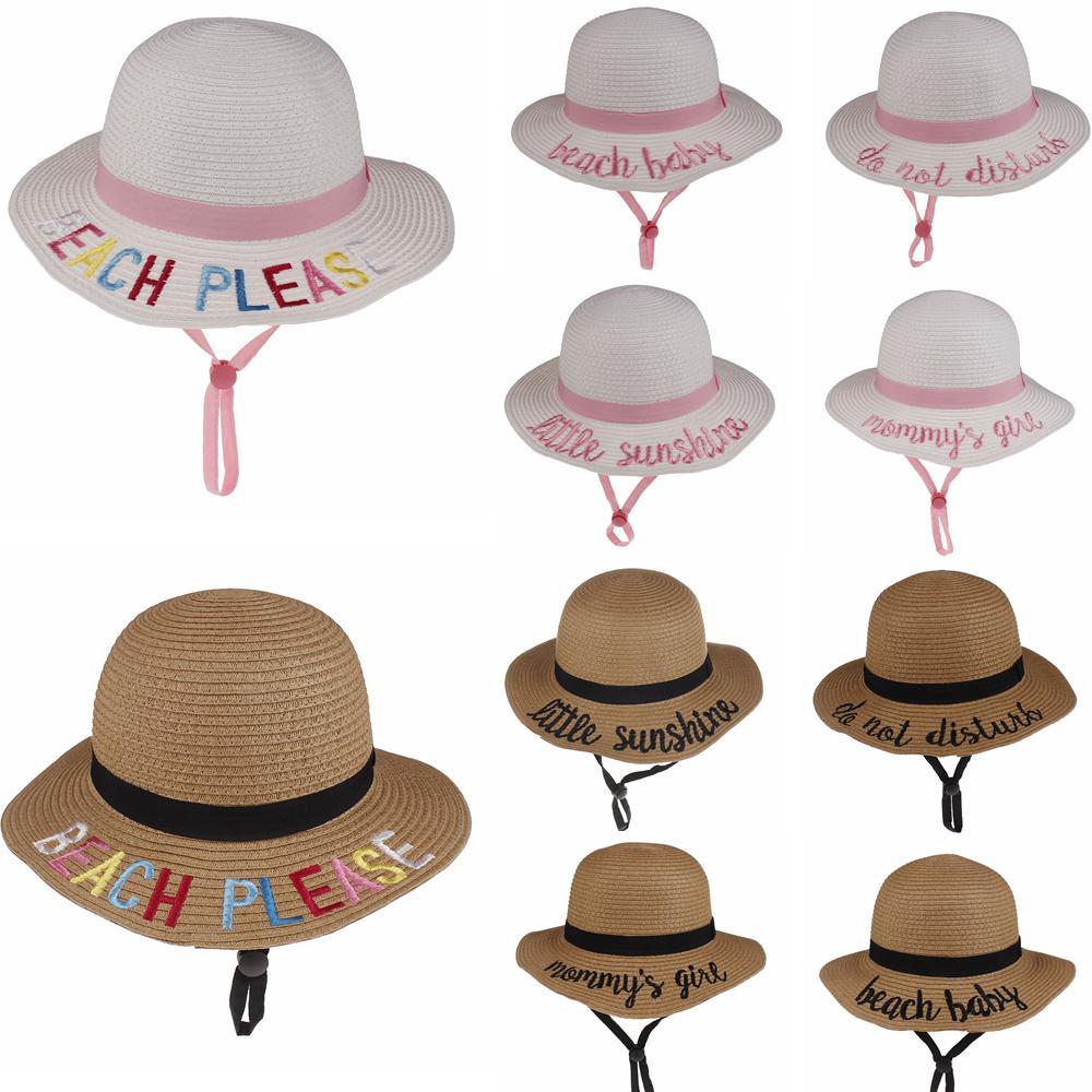10 estilos Sombrero del cubo de los niños Sombrero de paja Sombrero para el sol Playa de verano Sombrero para el sol Gorras de pesca de palabras Pescador de dibujos animados para niños Cuencos de playa para niños DHL GRATIS