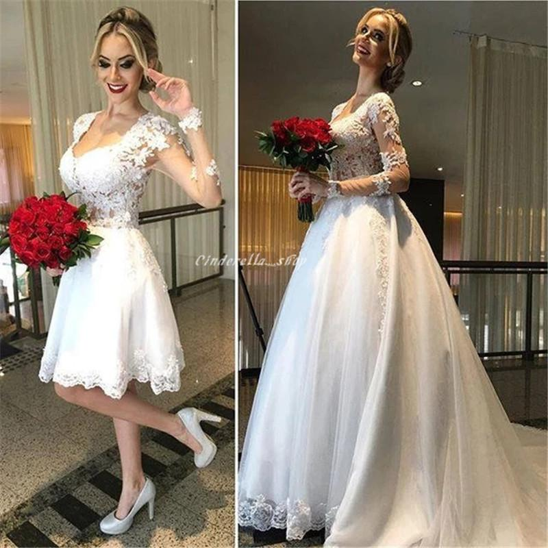 2 In 1 Wedding Dresses With Detachable Skirt Lace Appliques Long Sleeves Illusion Zipper Back Arabic Garden Bridal Gowns Robe De Mariee