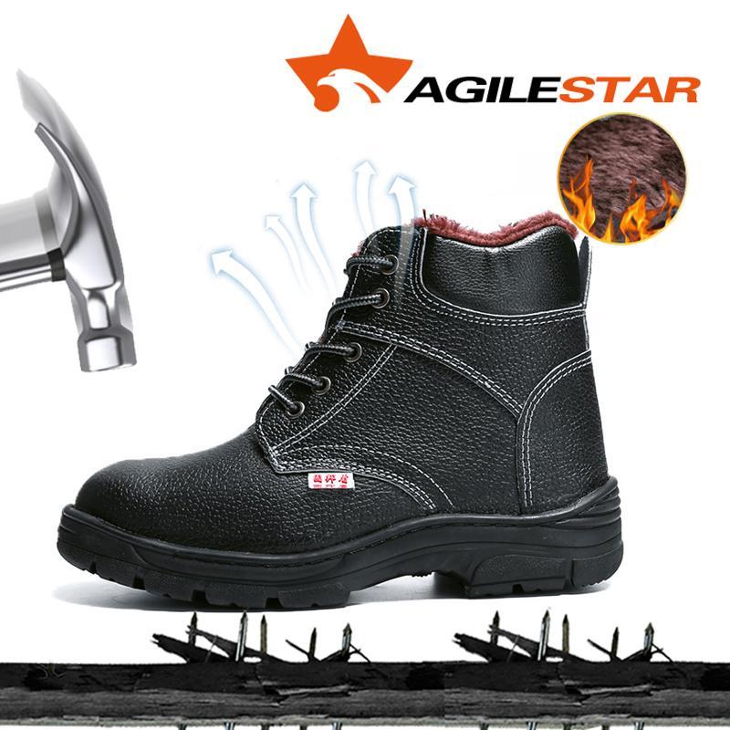 AGILESTAR Anti Slip stivali punta di alta qualità Costruzione inverno Sicurezza Stivali acciaio Tenere inverno caldo Scarpe indistruttibili