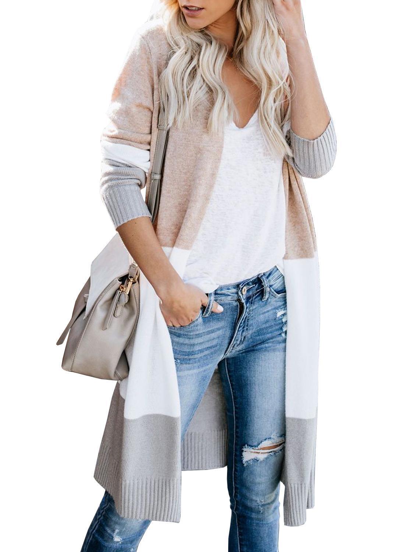 Lungo Maglione Unico Natura Womens anteriore aperto Cardigan Boho manica lunga Color Block Knit leggero Kimono Duster Cappotti