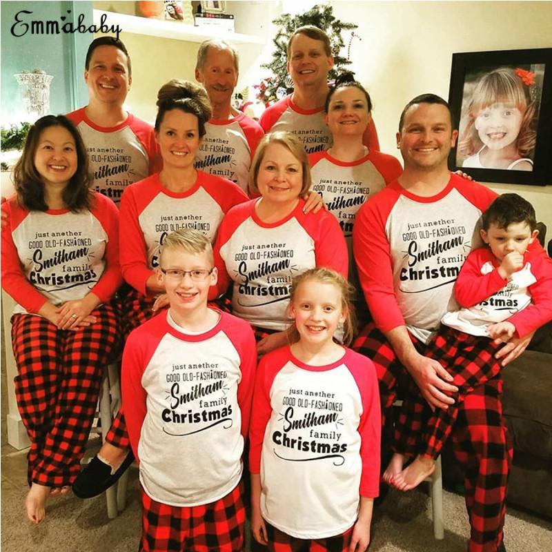 2019 NEW Family Matching Women Kids Christmas Pyjamas Xmas Nightwear Pajamas Set