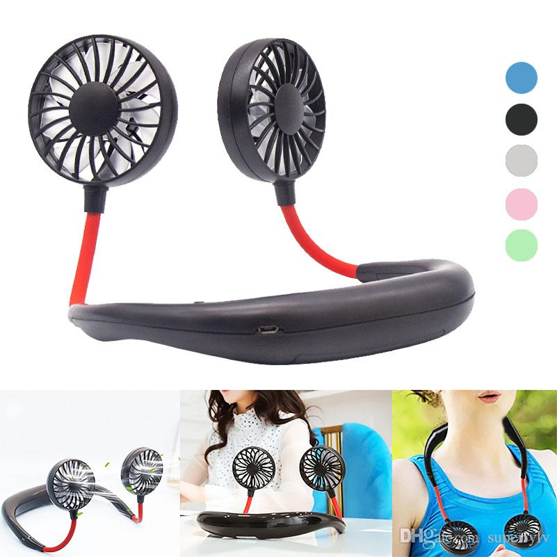 USB Rechargeable Dual Fan Neck Band Hands-Free Hanging Cooler 3 Speeds Portable