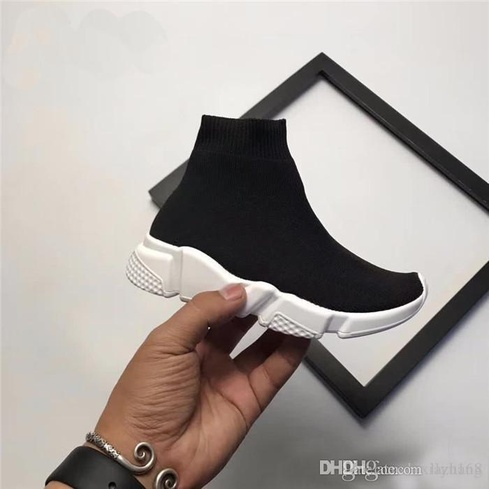 Boys Girls Luxury Sock Paris Shoes Speed Runner Kids Running Shoes Children Babys Summer Casual Athletic Sport sneakers size 28-35