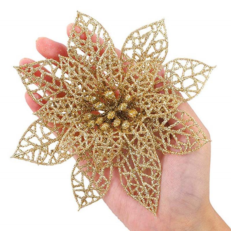 Moda 10 Ad Plastik Hollow Glitter Güzel Noel Hollow Çiçek Parti Noel ağacı Süsleri Süsler 15cm 8Z-HH186