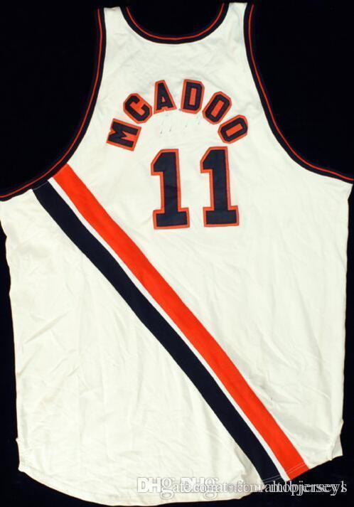 barato Bob McAdoo # 11 Buffalo Braves Jersey SEWN NOVO qualquer nome Mens Branco costurado Equipamentos de Basquetebol