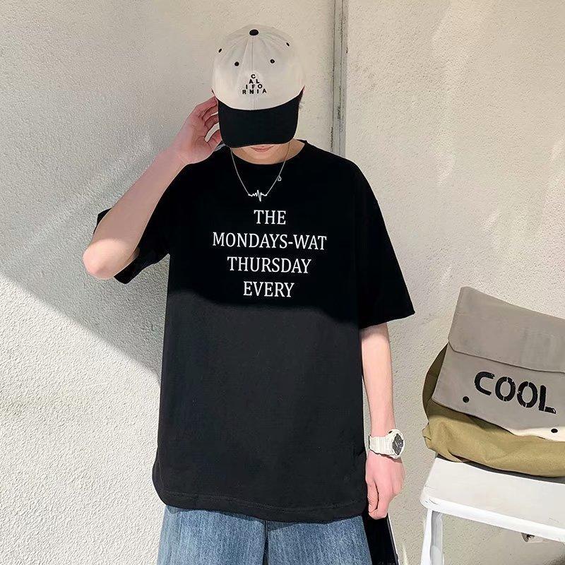 em torno do pescoço de manga curta moda meia manga t-shirt dos homens de algodão puro magro coreano 2020 do verão dos homens novos