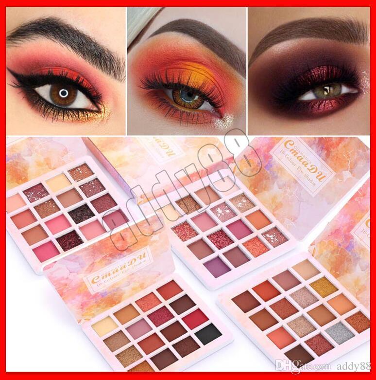 2019 New Eye makeup CmaaDu Eyeshadow Glitter 16 Colors Eye shadow Palette Make up Shimmer Pigmented Powder Metallic Matte Eye shadow palette