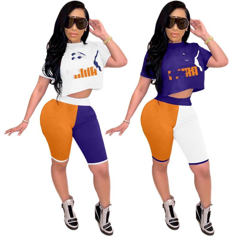 Mulheres Verão 2pc Define Treino Cortar Tops + Shorts Jogger Terno de manga curta Outfits Cortar Tops Sportswear S-2XL na moda Roupa Sweatsuit 3129