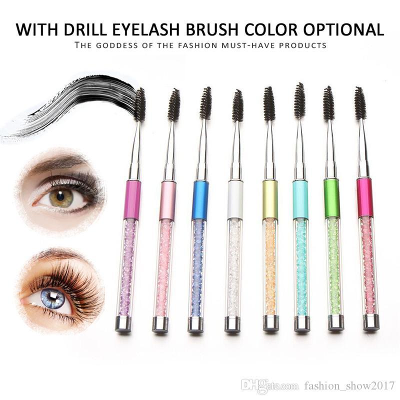 Brosse de diamant réutilisable brosse cosmétique mascara wand applicateur spouleur boîte de maquillage pendentif pin brosse mélange brosse à sourcils