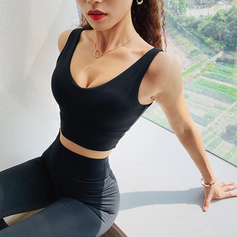 Sutiã Esportivo Sem Costura das mulheres Top de Alta Impacto Push Up Strappy Ioga Sutiã Acolchoado Estiramento Colete de Fitness Respirável Backless Correndo Bra