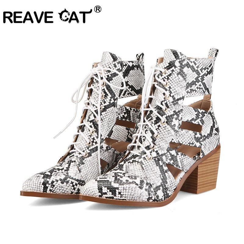 REAVE CAT 2019 Sandales sexy en serpentine pour femmes nouvelles à lacets, talons hauts, dames, été, bout pointu, talon carré, bottines, blanc