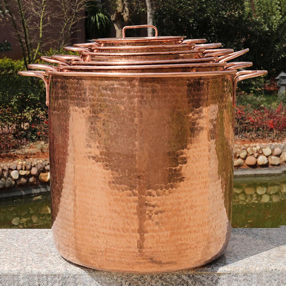100% de cuivre pur ustensiles de cuisine seau pot de pot gaz soupe cuisinière à induction cuisson du riz outil huile pan commercial tambour