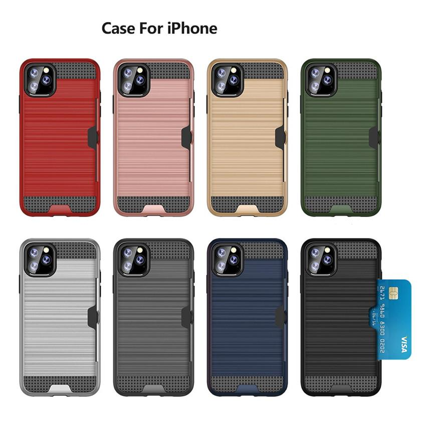 Fashion anti-knock tpu silicone Phone case for iphone 11 pro Max insert card Back cover for apple 7 8 Plus