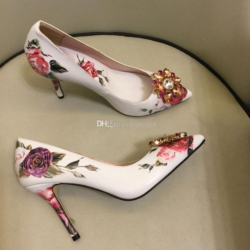 Pink Print Wedding Party Dress Shoes High heel Rhinestone Women Bride Pumps