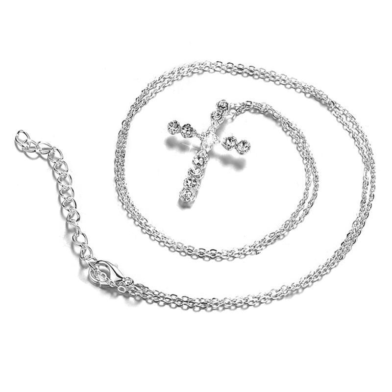 Prata Banhado Colar de Jóias Moda Cross CZ Cristal Zircão Pingente De Pedra Colar Presente de Natal