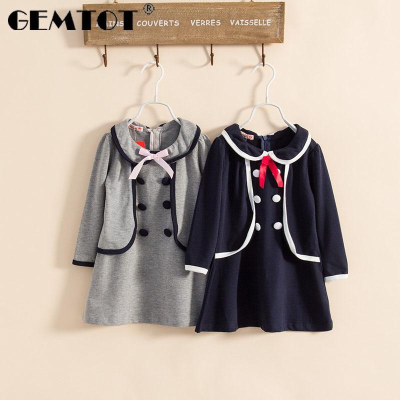 Gemtot vestido das crianças 2019 primavera e outono new college vento meninas vestido de mangas compridas double-row botão boneca gola dress mx190724
