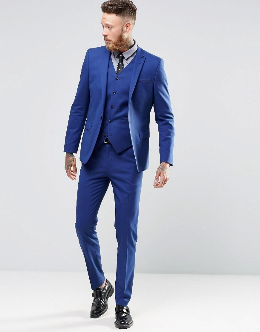 sports shoes 1f3f4 de8fd Acquista Tuxedo Uomo Elegante Colore Blu Vestito Immagine Reale Vestito  Sposo Bello Uomo Singolo Abbottonatura Vestito Uomo Giacca + Pantaloni +  Gilet ...