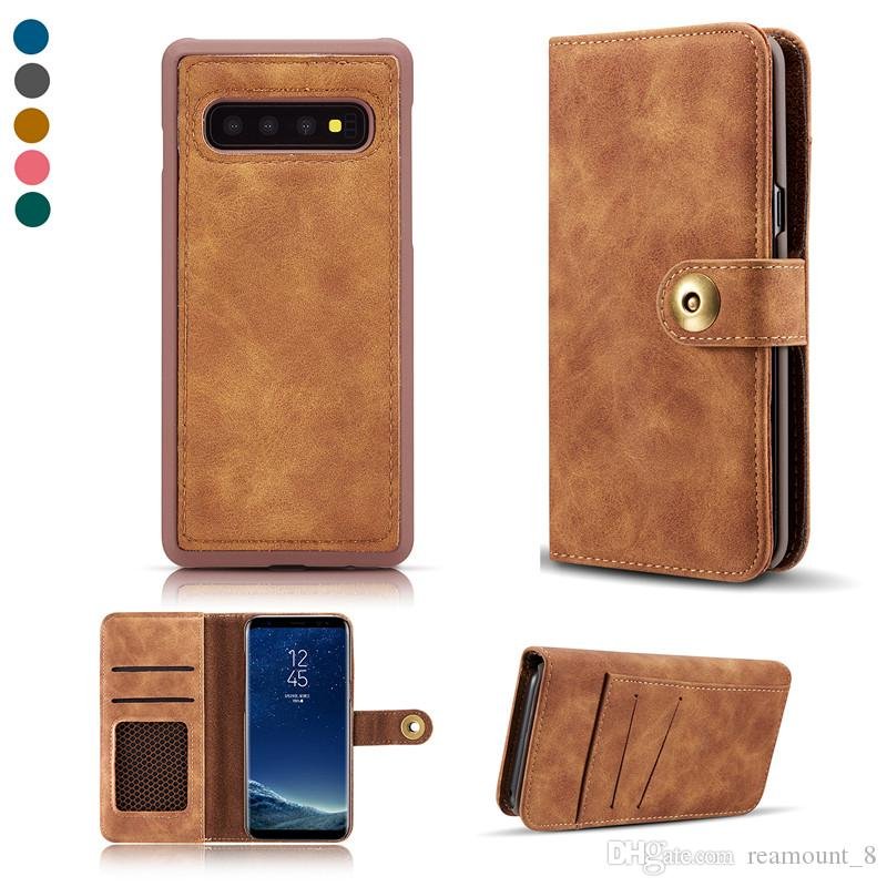 20pcs book style PU Wallet Cell Phone Cover Case for Samsung S9 S10 S10PIUS With Card Slot Leather Case