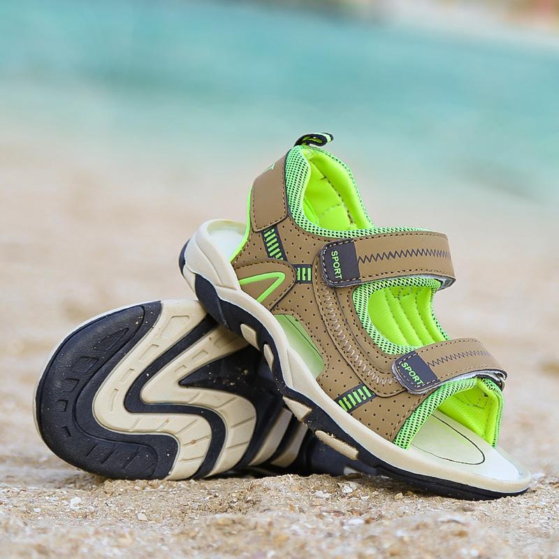 2020 Yeni Moda Çocuk Sandalet Erkek Kız 8 Ayakkabı Kesim-çıkışları Kauçuk Deri Okul Ayakkabı Nefes Açık Burun Casual Erkek Sandalet için