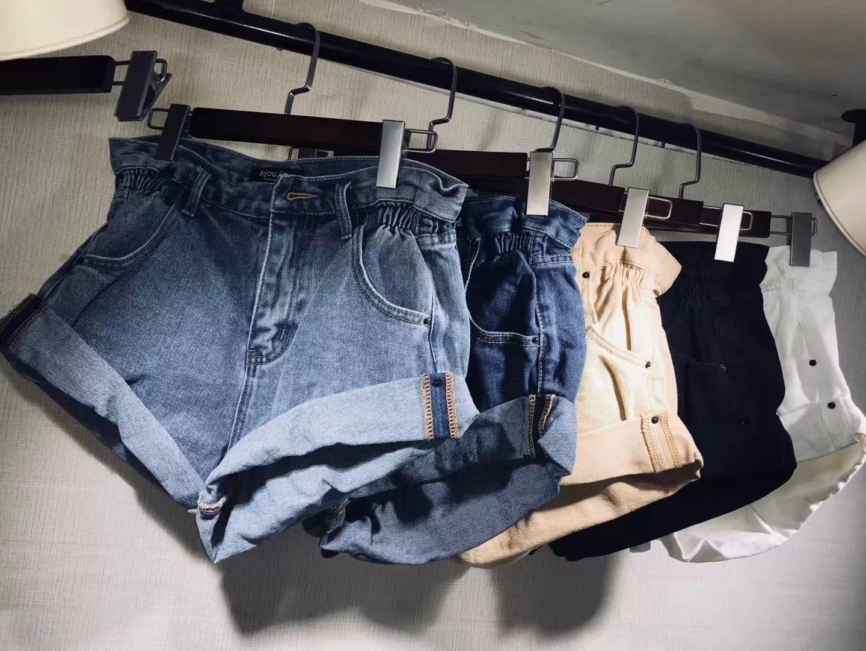 shorts jeans mulheres de comércio exterior enrolado cintura alta calças perna larga europeus e americanos estilo solto flanging tendência denim calções no Verão 2