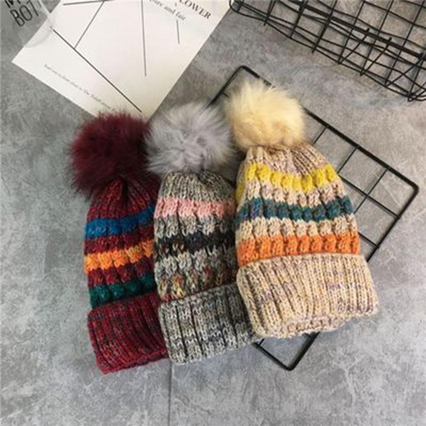 Cashmere Eindickung Beanies Hüte mit Haarige Kugel Armkugel Strickmütze Multi Color Kreative Kappen für Frauen Geschenk ZZA892