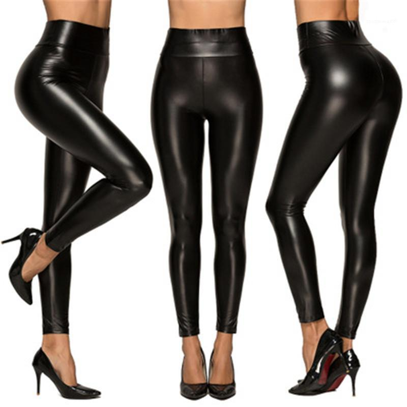 Leggings Sex PU Leather Pants High Waist Stretch Trousers Female Black Outer Wear Slim Leggings Leather Pants Women