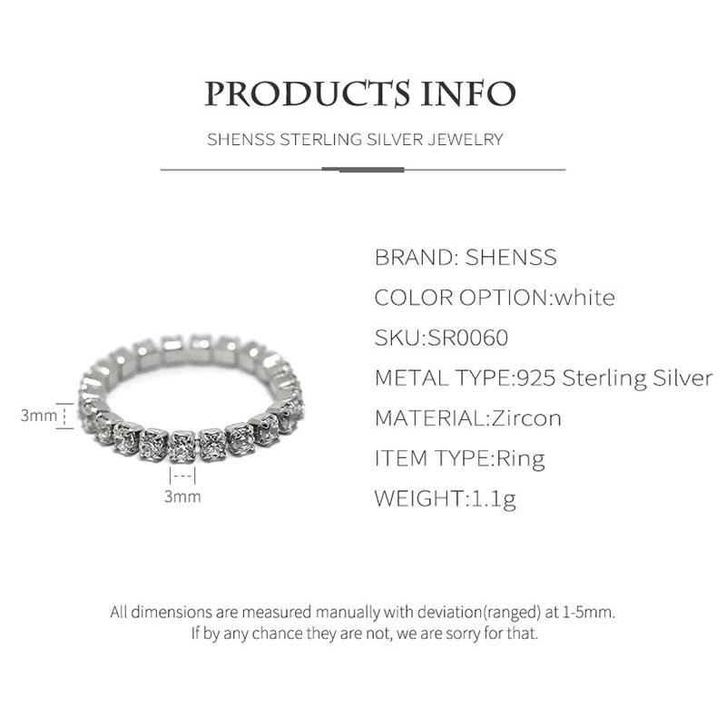 Fashion Simple Zircon Ring S925 Sterling Silver Ring for Women
