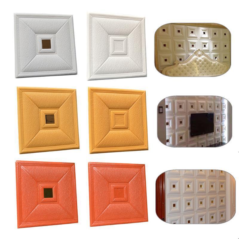 Newets 3D-Weichschaum-Schnitzen Fall PE-Schaum-Wand-Aufkleber-Ausgangsdekoration Wohnzimmer-Kunst-Wand TV Sofa Wand-Dekor-Tapeten-Plakats