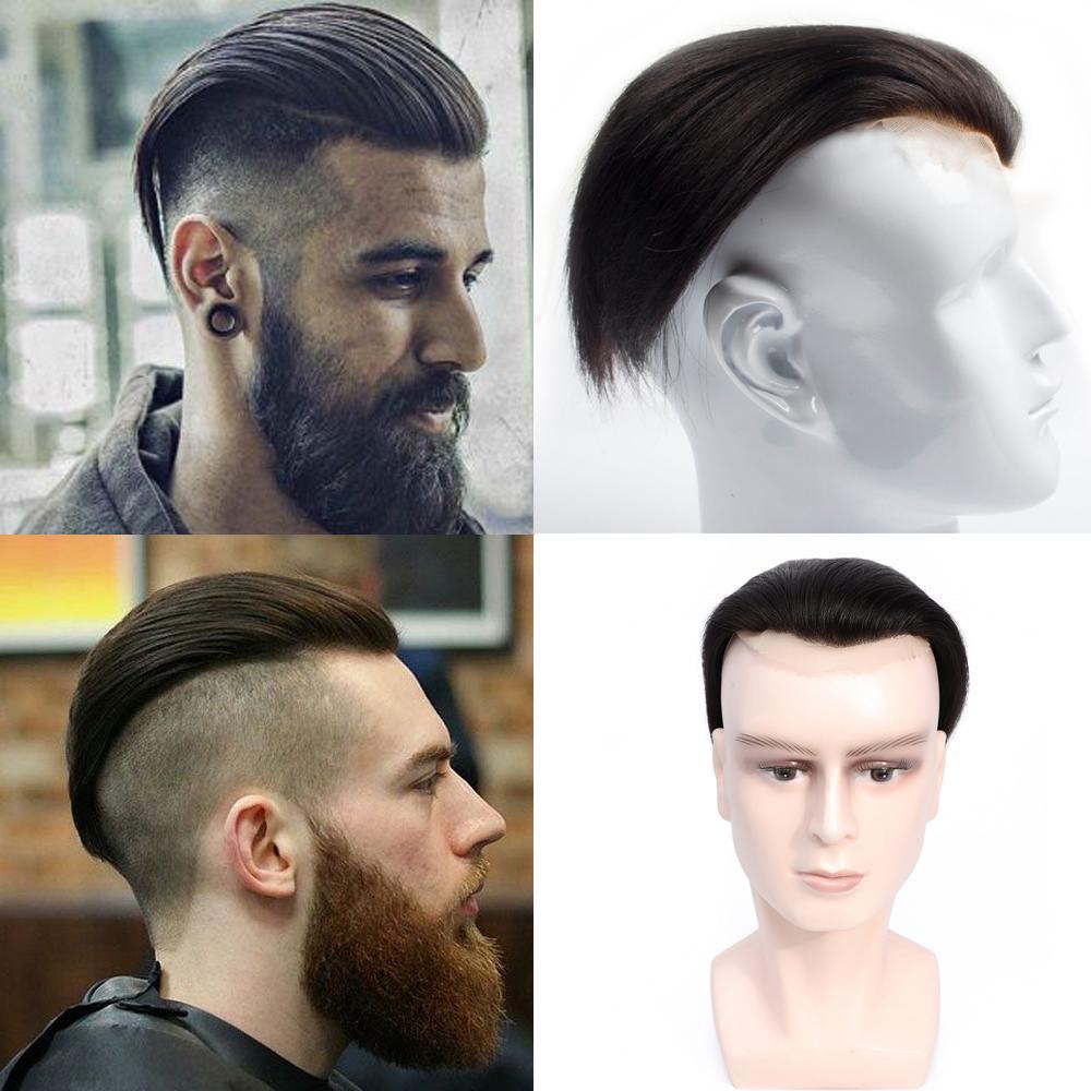 لون طبيعي 100٪ كامل الرباط شعر الإنسان 18-19 CM الشعر المستعار الرجل استبدال الشعر النظام الباروكات هيربيسي لرجل اسود الإغلاق الأعلى الشعر