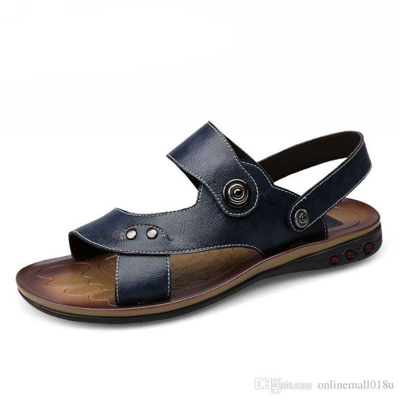 Натуральная Кожа Большой Размер Мужская Обувь Мода Плоские Сандалии Лето Мужская Обувь Пляж Мужские Сандалии Кожаные Сандалии Для Мужчин