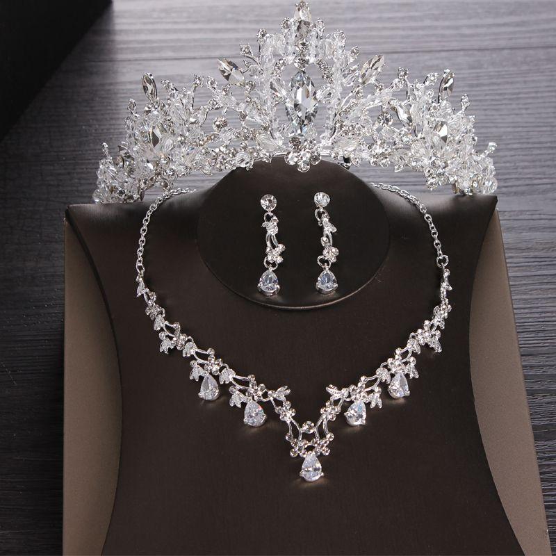 Luxury Crystal Bridal Jewelry Sets Cubic Zircon Tiaras Earring Choker Necklace