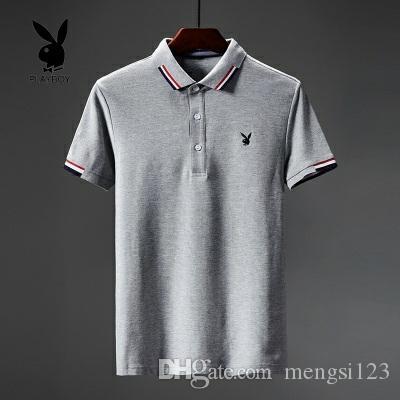 Playboy verão nova moda clássico slim fit de manga curta camisa pólo homens t-shirt 4 cores e 6 jardas para escolher