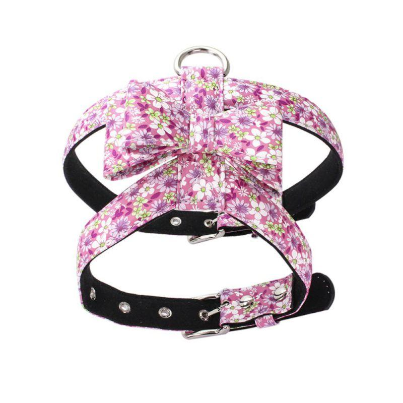 Pet Anti-Explosion Bow Knot Harnesses Vest Chest Belt For Dogs Colorful Flowers Design Puppy Harness And Necktie