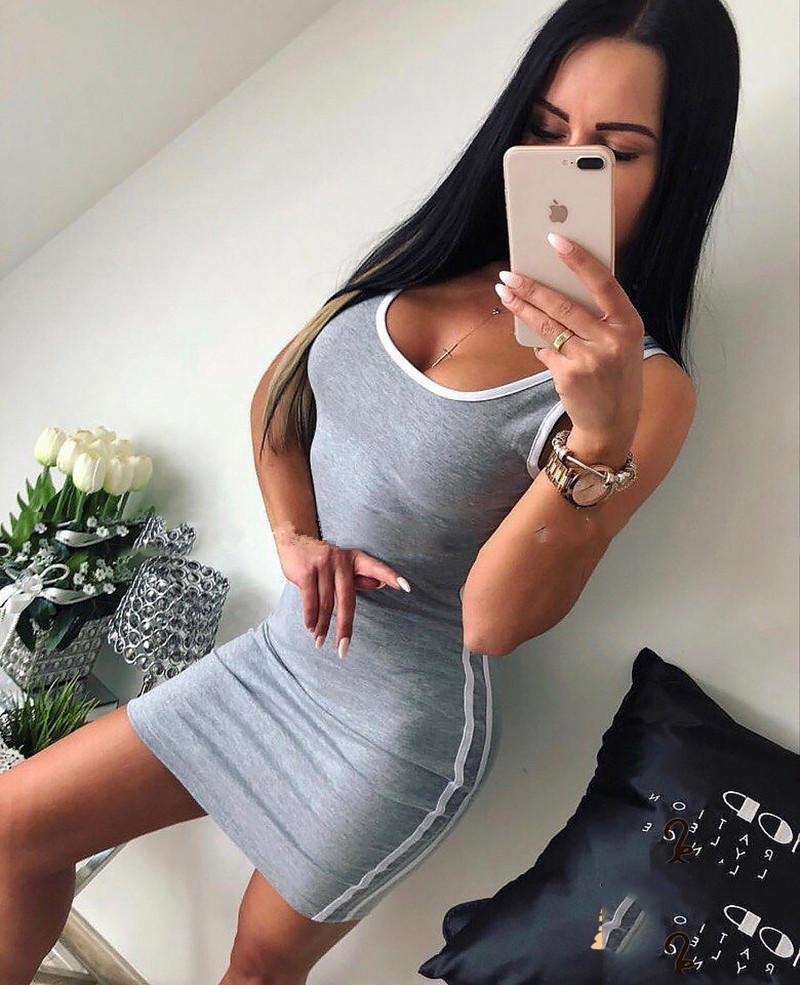 Diseñador del vestido del tanque Top Body mini vestidos mini faldas de la manera ropa de las mujeres Negro Gris envío de la gota 220085