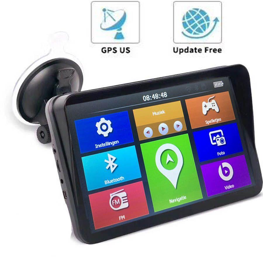 Nuovo schermo dell'automobile del camion GPS Navigator Capactive 9 pollici Truck Navigation MTK 256M + 8GB FM Bluetooth AVIN Parasole visiera UE AU Stati Uniti
