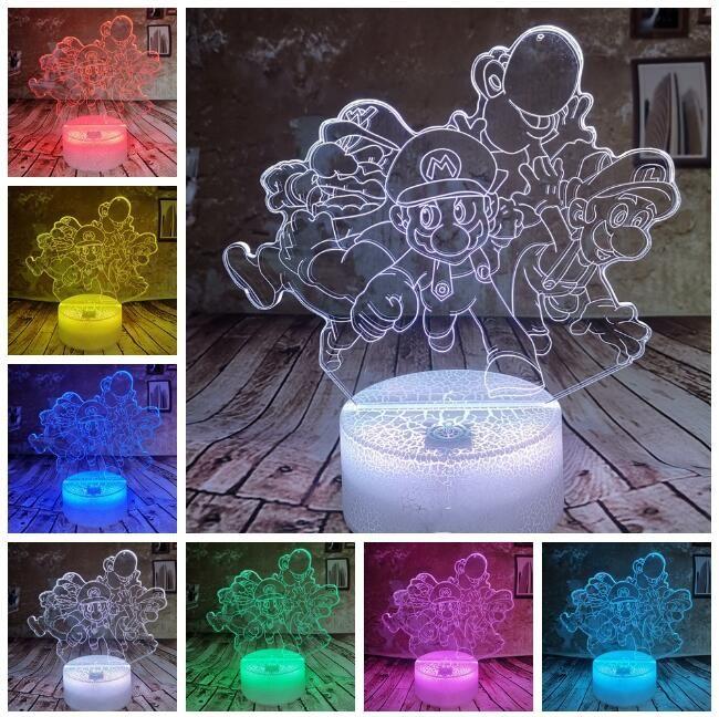 Super Mario Bros Luigi Toad Yoshi Drago lampada 3D 7 cambiamento di colore della luce di notte bambino giocattoli Ragazzi Diciottenni Bedroom Decor Nursery Sleeping Lamp