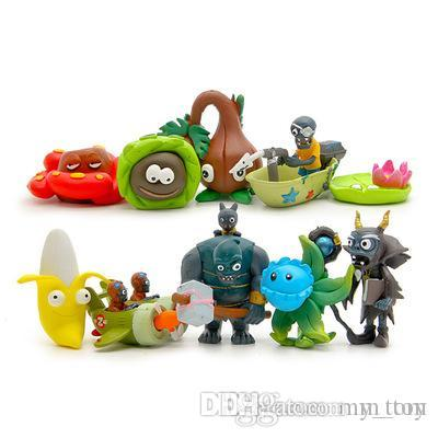 Gift Toys Plants vs Zombies Banana Wizard Aircraft Dolls 2-7cm PVC Cute Collection Figures Toys Gifts Plant + Zombies Model