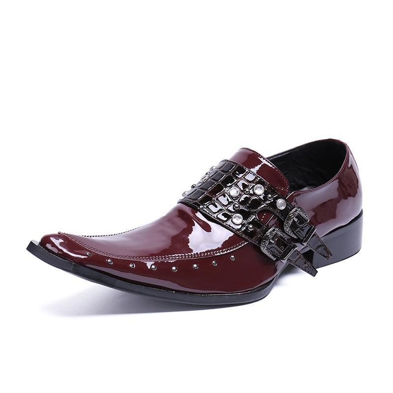 Men's Square Head Slip Fashion Casual Leather Wedding Dress Shoes Men's Design Nightclub Bar Professional Work Shoes