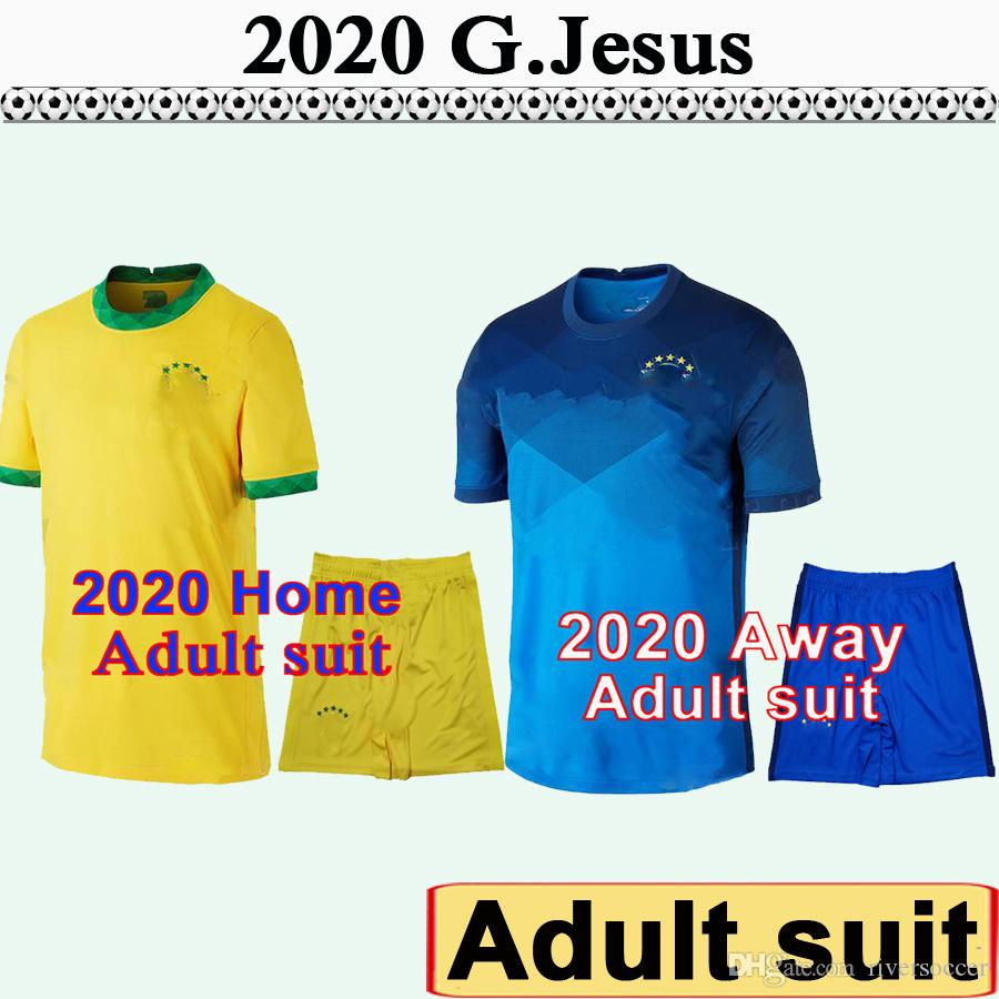 2020 Brazil Adult Suit Soccer Jerseys P. COUTINHO G. JESUS PAULINHO D.COSTA Home Away Football Shirts NewMARCELO COUTINHO Short Sleeve Kit