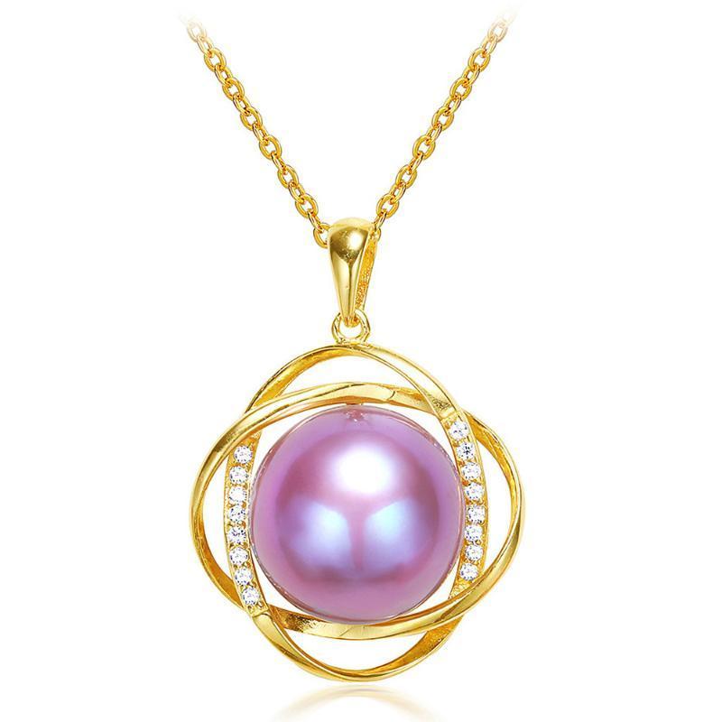 أنيقة الأرجواني لؤلؤة الزركون قلادات الماس والأحجار الكريمة قلادة للنساء 14K الهدايا بيجو الذهب لهجة قلادة سلسلة مجوهرات