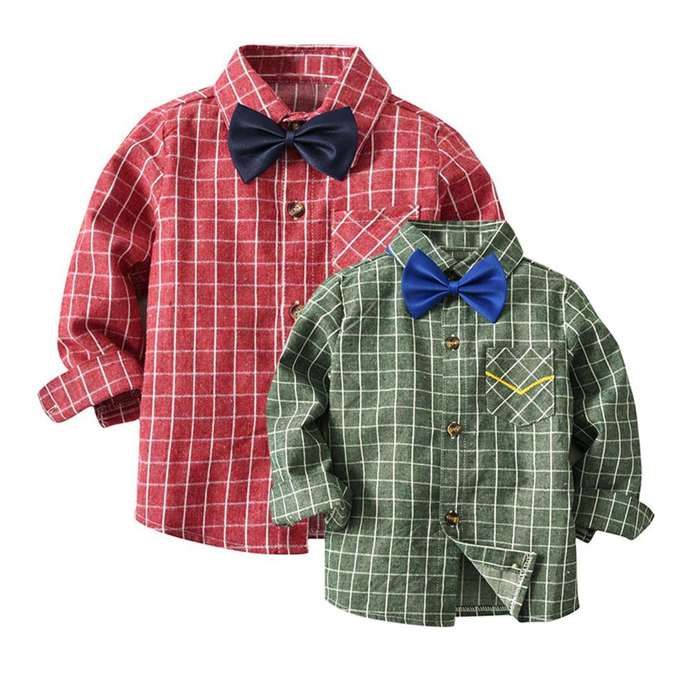 Stylish and fashion design Toddler Baby Boys Girls Plaid Shirts Long Sleeve Gentleman Tops Tie Clothes