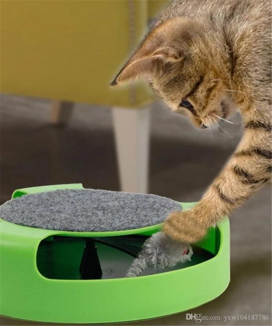 Juguete interactivo del gato de la placa giratoria del juguete con el funcionamiento de Persecución del ratón y el gato que rasguña el cojín del entrenamiento del juguete de la rata por Interactiva Reproducir