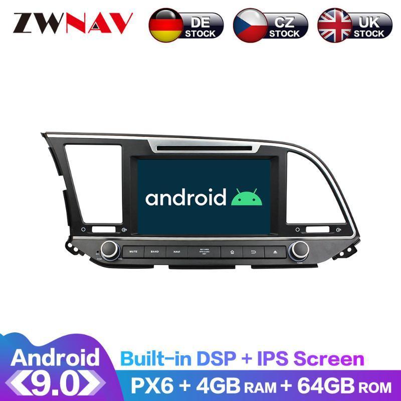 2018 자동차 DVD GPS 멀티미디어 플레이어 헤드 유닛 라디오 나비 오디오 스테레오 - 안드로이드 9 화면 PX6 DSP를 들어 엘란트라 2015 2016 IPS