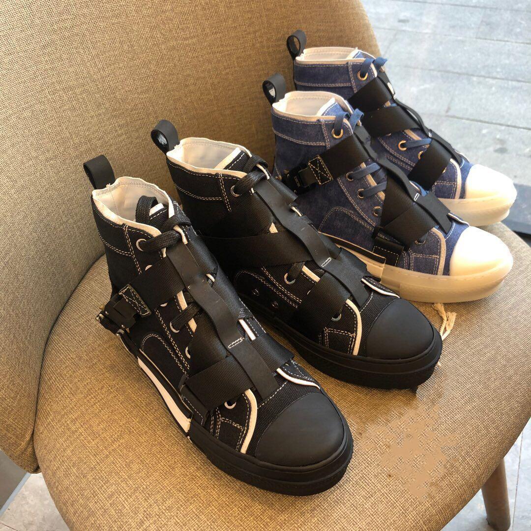Урожай B23 кроссовки Холст Повседневная обувь Роскошные женщины обуви Мужчины высокие кроссовки плоский Пряжка B23 Мужчины Женщины обувь