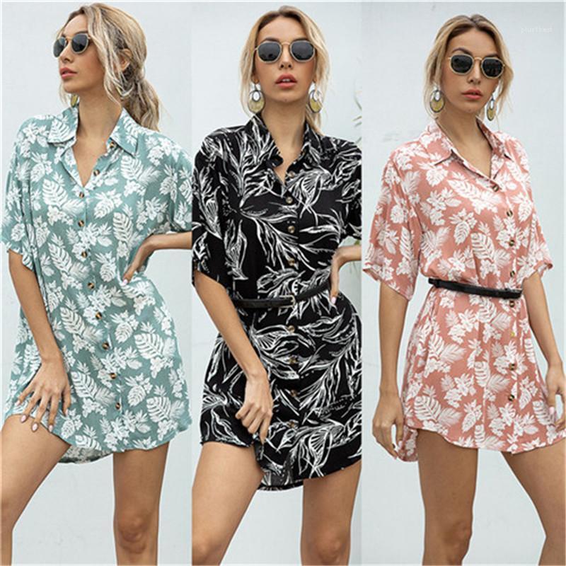 Giyim Çiçek Baskılı A Hattı Gömlek Elbise Yaka Yaka Kısa Kollu Yalnız Kadınlar Elbiseler Casual Kadınlar göğüslü