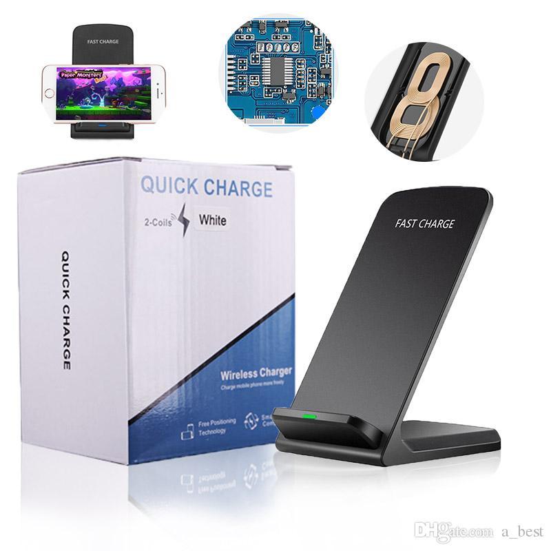 2 Carregador sem fio Station Carregador Bobinas Doca Titular 10W Qi carregamento rápido suporte Pad para iPhone XS MAX XR X 8plus Samsung S10EPlus