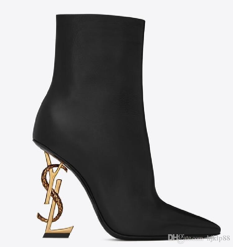 Nuevo Primavera Otoño Negro Zapatos de novia de boda de cuero real OPYUM Tacones de serpiente Letras de punta puntiaguda Tacones altos Bombas Botas de mujer Diseñador