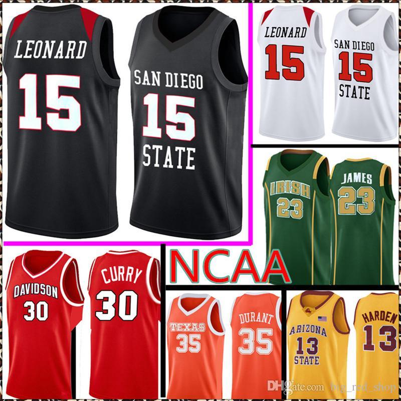 San Diego State Astecs College Kawhi 15 Leonard Jersey NCAA 30 Curry 35 Durant 23 James Lebron Jerseys 99 88 220