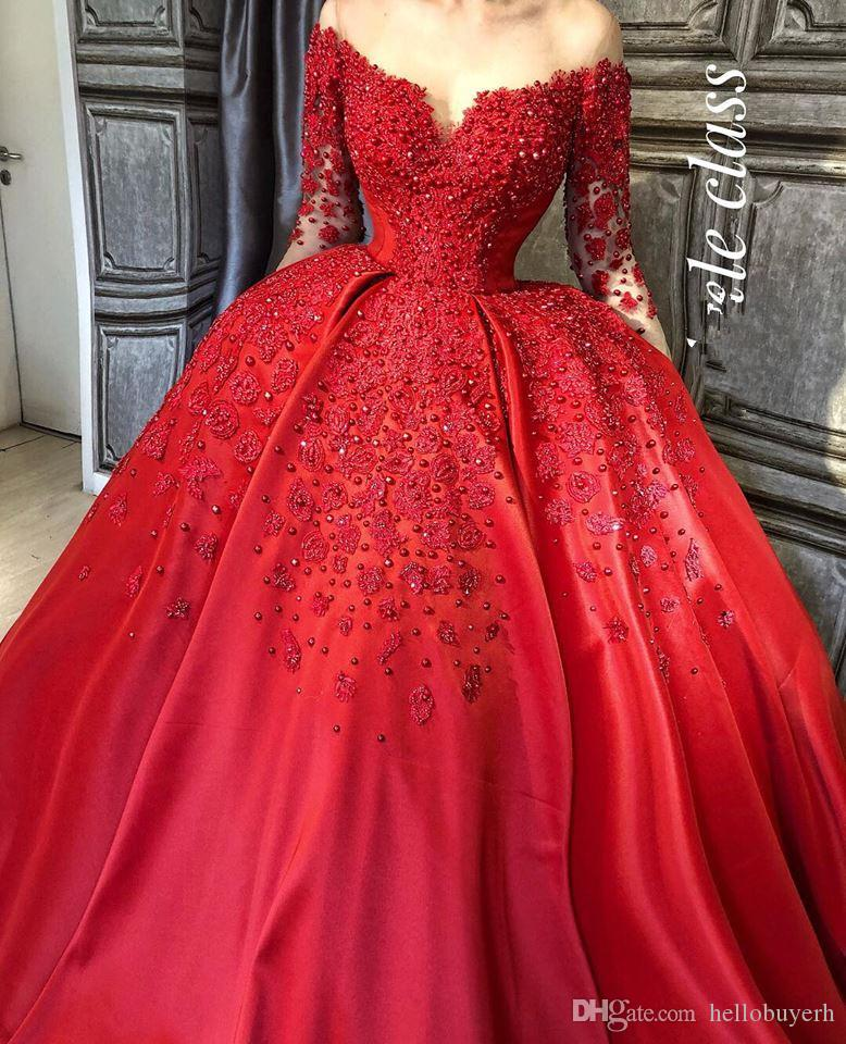 Black Girls Plus Size Ball Gown Prom Dresses Long 2018 Elegant Muslim Long  Sleeve Quinceanera Evening Dresses With Beads Junior Prom Dress Junior Prom  ...