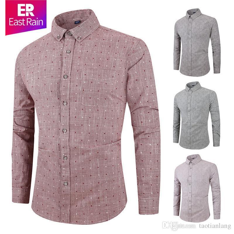 Mariage Chemise homme manches longues hommes Chemise d'affaires solide Couleur Chemises Vêtements de travail formel Slim Shirt Homme 2020 S-3XL J191106